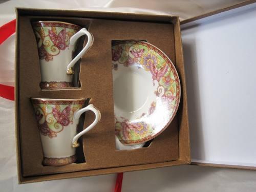 Porcelana italiana tunisia juego de 2 tazas de café