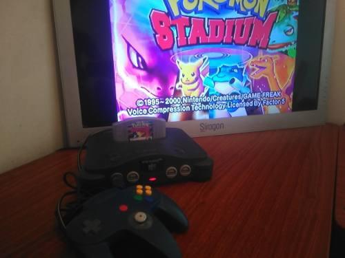 Nintendo 64 con pokemon stadium