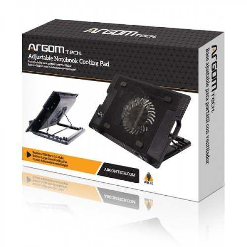 Argom base ajustable portátil ventilador led 2 puertos usb