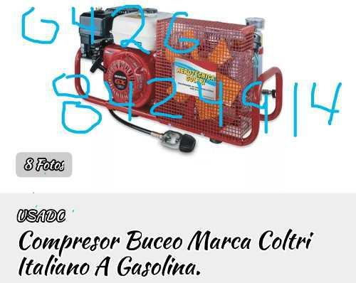 Compresor buceo, marca cultri, italiano, motor a gasolina