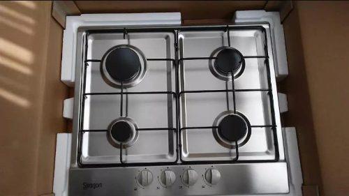 Tope de cocina a gas 4 hornillas 60cm acero inox siragon