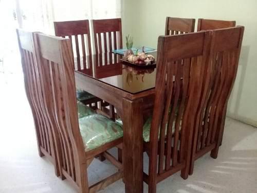 Juego de comedor de 8 puestos (madera saman)