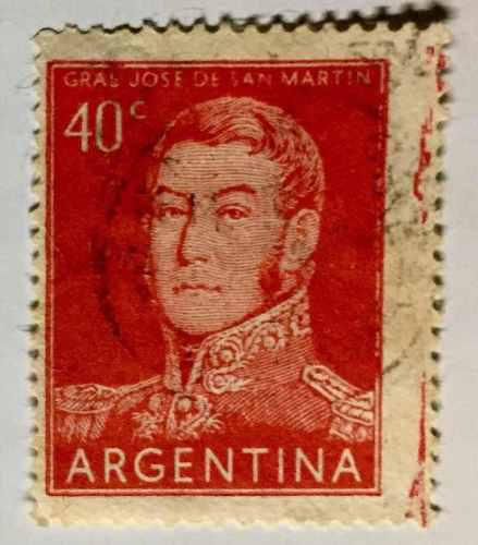 Estampilla argentina error descentrado y mancha tipográfica