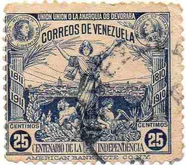 Estampilla venezuela 25c centenario independencia 1911 rara