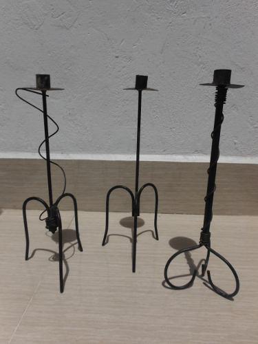Combo de (5) cinco candelabros hierro forjado, (ne-3)