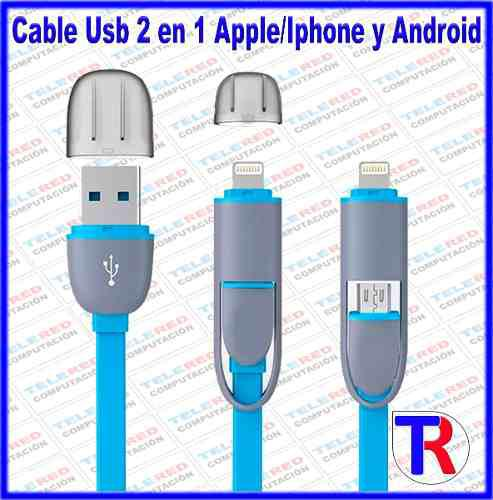 Cable usb 2 en 1 micro usb apple/iphone/android