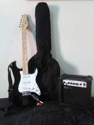 Guitarra electrica d' andre con amplificador, afinador y mas
