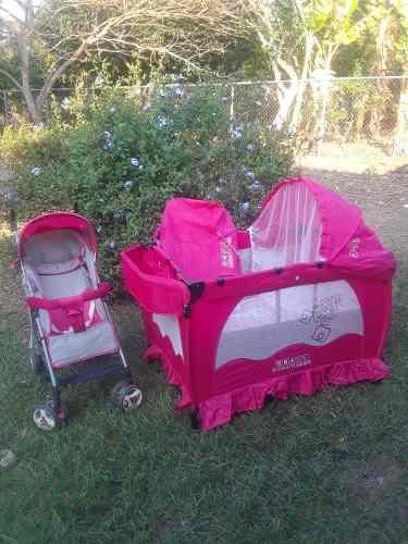 Corral cuna y coche paragua para niñas