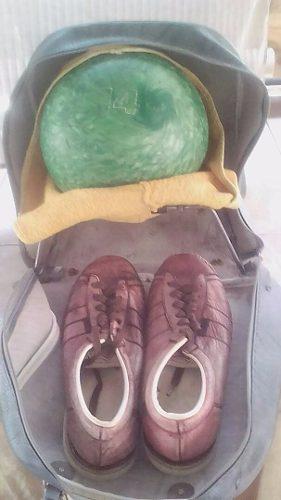 Zapatos de bowling brunswick + pelota nº 14 + bolso