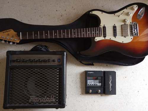 Combo guitarra electrica aria + amplificador + pedal 150tr