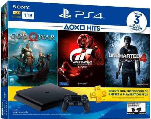 Consola playstation 4 slim de 1tb +3 juegos +3 meses ps plus