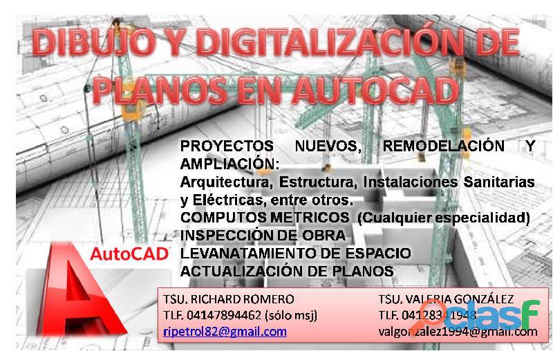 Dibujo y digitalización de planos en autocad