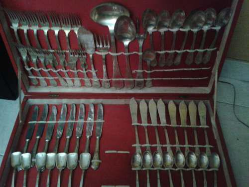 Juego de cubiertos de baño de plata 58 piezas