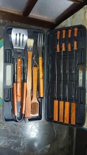 Juego de cubiertos set de utensilios para parrilla c/estuche