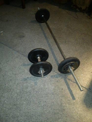 Mancuernas y barra para pesas cromada 2 discos de 2.5lb