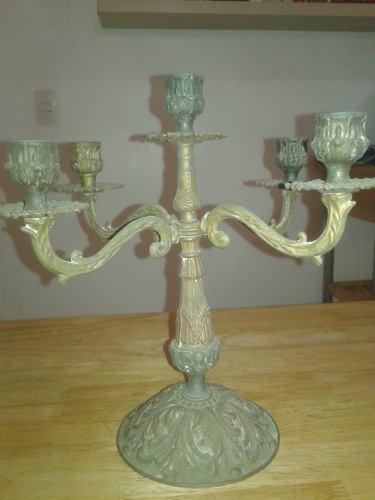 Candelabro antiguo 5 velas de bronce de coleccion