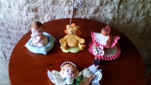 2 figura ceramica muñecas animales angel graduacion