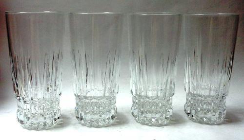 Cuatro hermosos vasos altos vidrio transparente base cortes