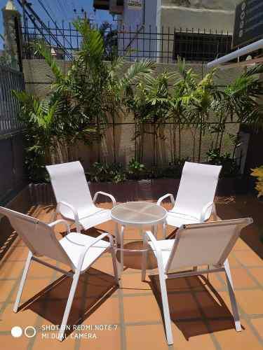 Juego sillas malla mesa piscina playa jardin