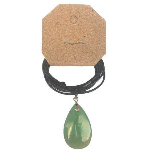 Dijes de cuarzo verde en forma de gota con cuerito
