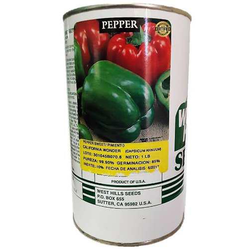 Semillas de pimenton california woder lata de 452 gramos