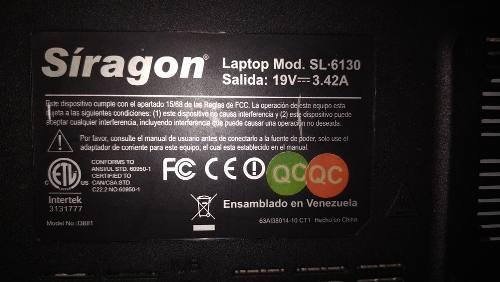 Laptop siragon sl 6130 detalles ref: 80