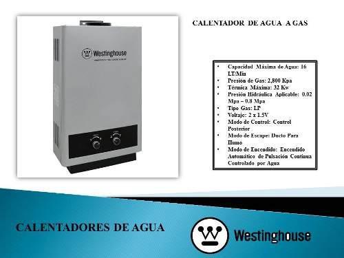 Calentador de agua a gas 16 lt westinghouse