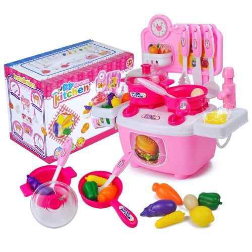 Cocina juguete con accesorios 24 piezas agua real fregadero