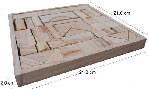 Juego didáctico caja con tacos de madera 48 pzas