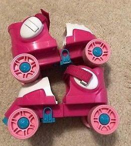 Patines niña 4 ruedas. rosados ajustables.