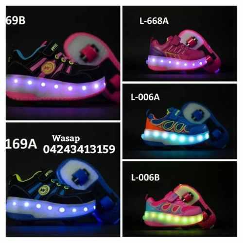 Zapato patines con luces led recargable 20mil soberanos