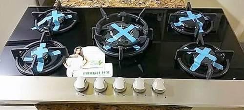 Tope cocina empotrable frigilux vidrio templado 5 hornillas