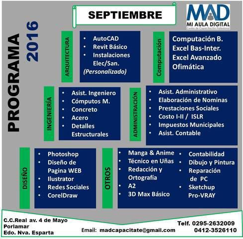 Cursos & talleres programación mes septiembre