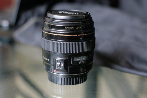 Lente objetivo canon 100mm para camaras fotográficas