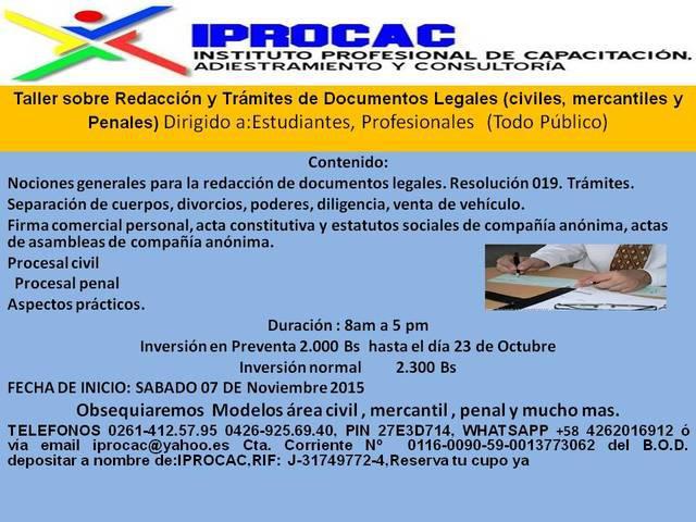 Taller de redaccion y tramites de documentos legales