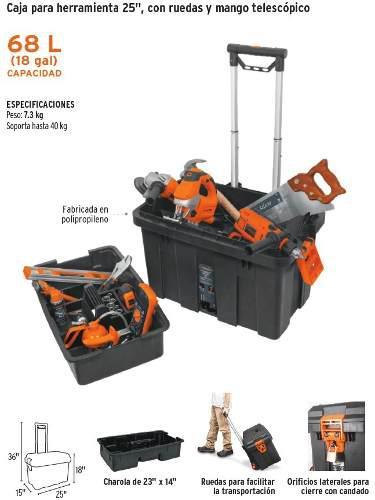 Caja de herramientas con rueda truper. cod-15320