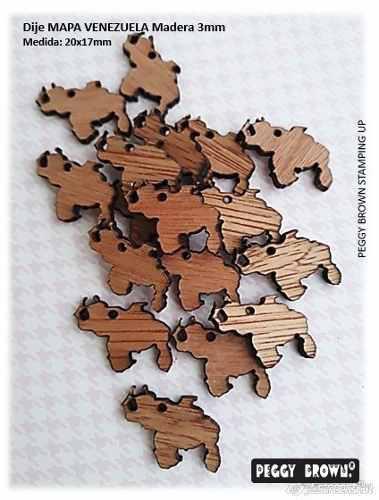Dijes en madera mdf para bisutería mapa venezuela 12pzs
