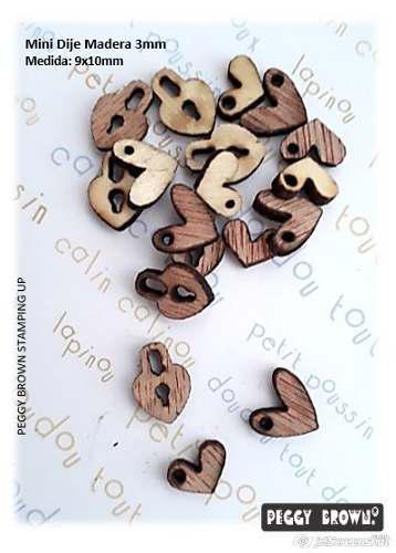Mini dijes madera mdf bisutería corazones 12 piezas