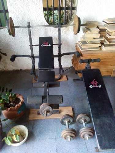 Banco para pesas+banco para abdominales+pesas y discos