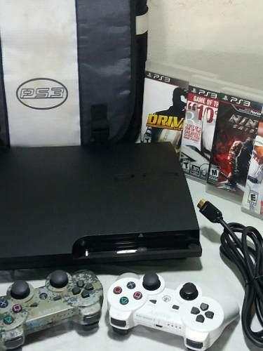 Playstation 3 slim 160gb 2 controles 4 juegos
