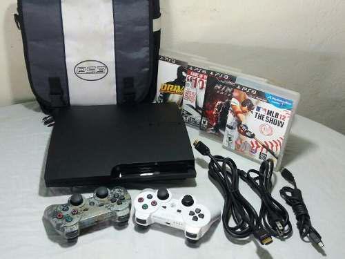 Playstation 3 slim 160gb 2 controles 4 juegos bolso