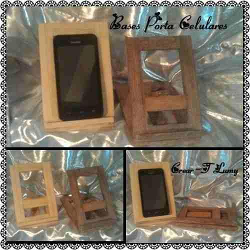 Base porta celular de madera / detal y mayor