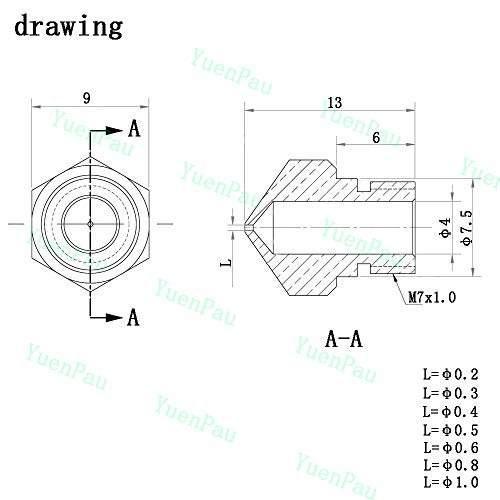 Computacion yuenpau mk10 boquilla para impresora 3d amz