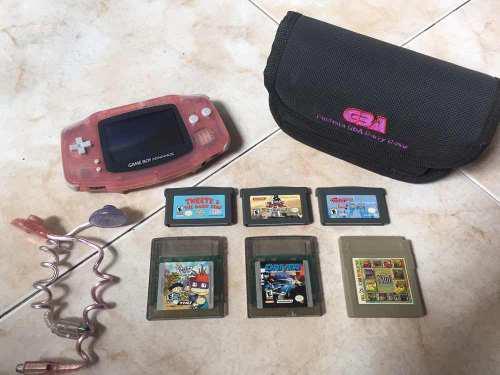 Consola De Nintendo Game Boy Advance Rosada + 6 Juegos.
