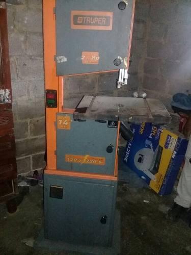 Sierra cinta truper maquina carpintería motor de 2 1/2 hp