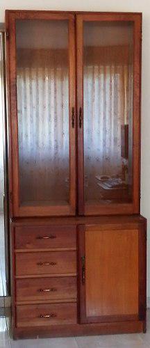 Biblioteca de madera con puertas y cerradura estante vitrina