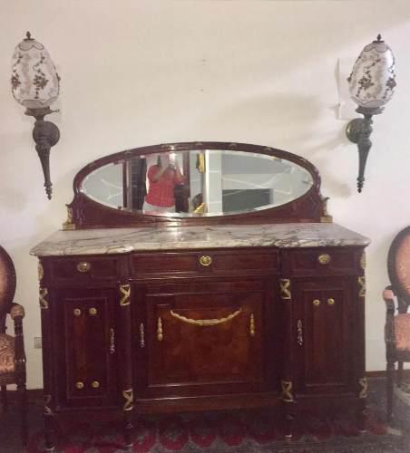 Espectacular mueble auxiliar madera apliques bronce y marmol