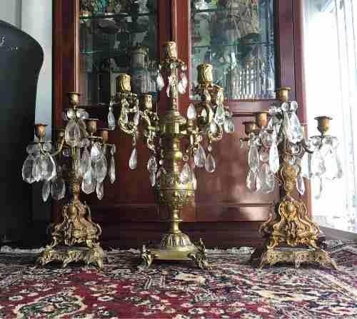 Candelabro de bronce y cristal con ceniceros antiguedades