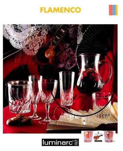 Jarra de vidrio fino más 6 vasos altos marca luminarc 7