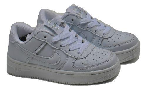 Kp3 zapatos niñas niños nike force one todo blanco